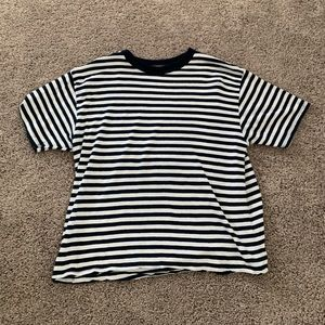 brandy melville white and navy striped tee